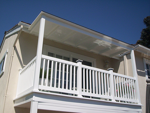 Balcony Solid Patio Cover With Railing